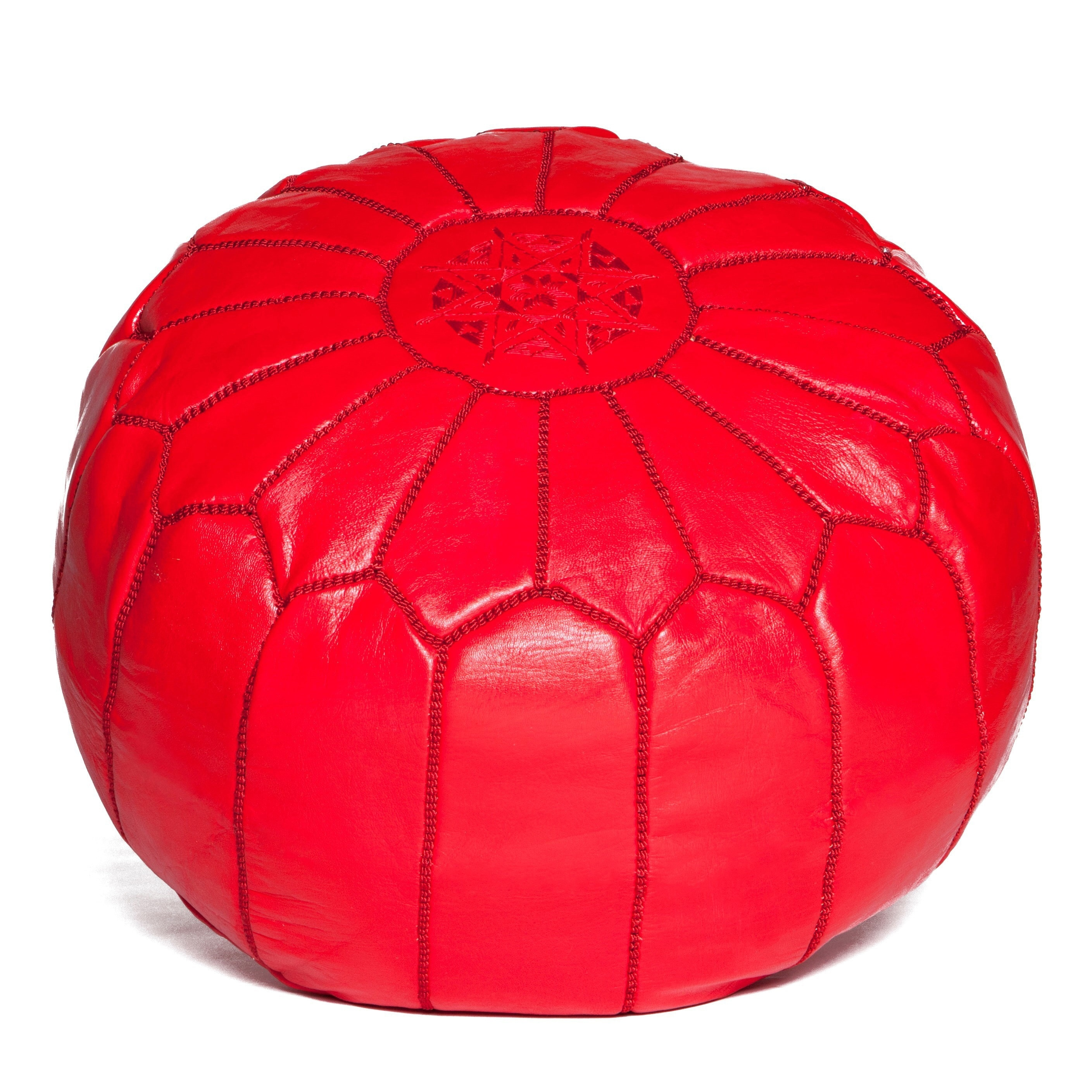 Design Ottoman red Moroccan leather pouf Handmade Leather