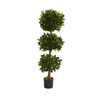 Nearly Natural 5' Triple Bay Leaf Topiary UV Resistant