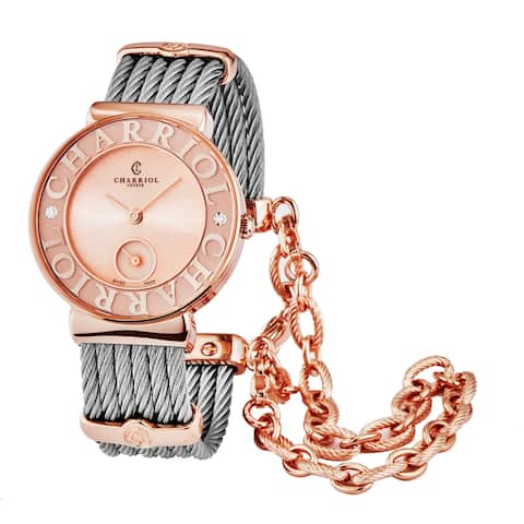 Charriol Women's ST30PCD2.560.032 'St Tropez' Pink/Rose Goldtone Dial Two Tone Stainless Steel Small Seconds Quartz Watch