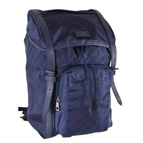 2e42f9e408be Gucci 510336 Large Blue Nylon GG Guccissima Backpack Rucksack Travel Bag