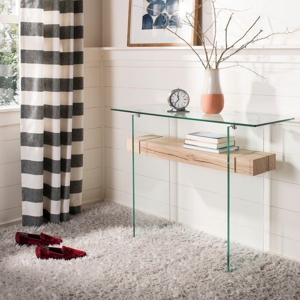 "Safavieh Kayley Natural/ Glass Console Table - 39.4"" x 13.8"" x 31.5"""