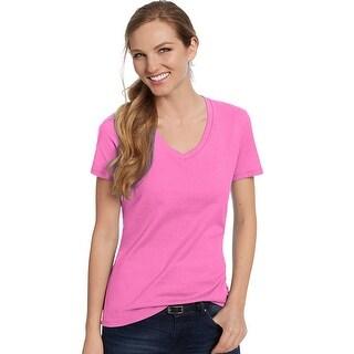 Hanes Women's Nano-T® V-Neck T-Shirt - Color - Wow Pink - Size - 3XL
