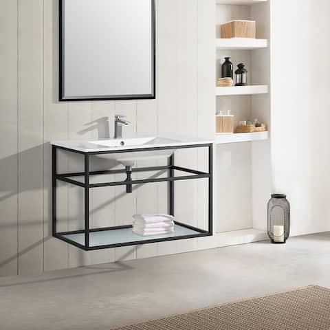 "Swiss Madison SM-BV553 Pierre 36"" Single, Metal Frame, Open Shelf, Bathroom Vanity"