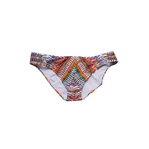 Raisins Yellow Multi Tribal Printed Strappy Hipster Bikini Bottom L