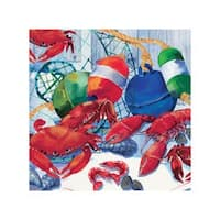 "Club Pack of 192 Seafood Celebration Disposable Beverage Napkins 5"" - Blue"