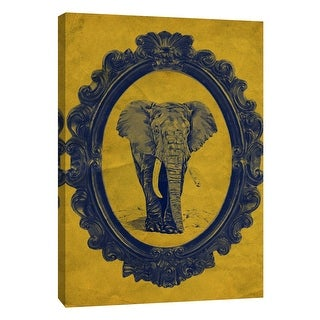 "PTM Images 9-105881  PTM Canvas Collection 10"" x 8"" - ""Framed Elephant in Yellow"" Giclee Elephants Art Print on Canvas"