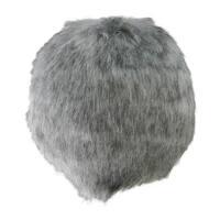 "4"" Gray Faux-Fur Christmas Ball Ornament Decoration (100mm)"