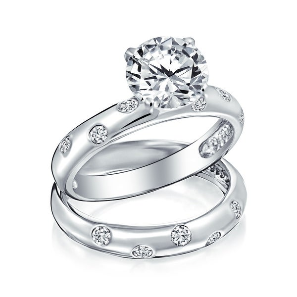 3CT Etoile AAA CZ Engagement Ring Wedding Band Set 925 Sterling Silver. Opens flyout.