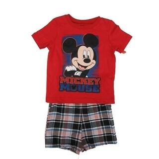 Disney Baby Boys Red Mickey Mouse Plaid Print T-Shirt 2 Pc Shorts Set