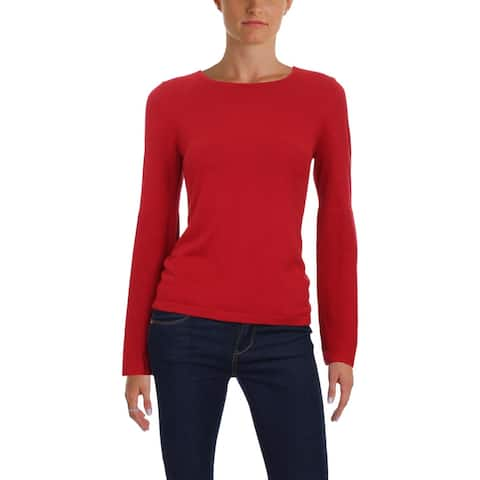 Vince Camuto Womens Petites Crewneck Sweater Casual Ribbed