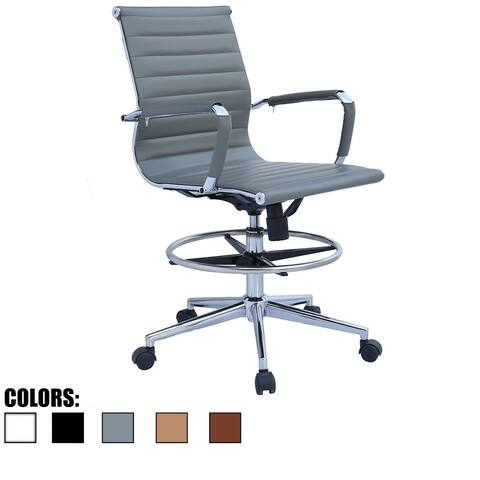 2xhome Drafting Chair With Arms For Office Ribbed Counter Height Bar Office Wheels Rest Swivel Work Standing Desk Footrest