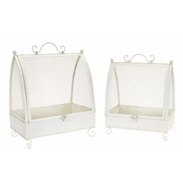 """Set of 2 White Chicken Wire Cages 18.5"""" - N/A"""