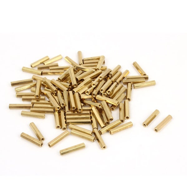 100 Pcs M2 Female Thread Brass Pillar Standoff Hexagonal Spacer 14mm Length