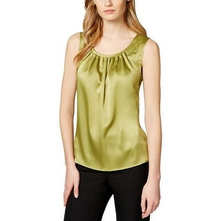 Kasper Womens Casual Top Satin Pleated Neck