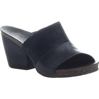 OTBT Women's Hostel Cork Heeled Slide Black Leather
