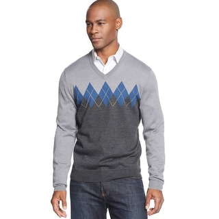 Club Room Merino Blend Colorblock Argyle V-Neck Sweater Ash Grey XX-Large - 2XL