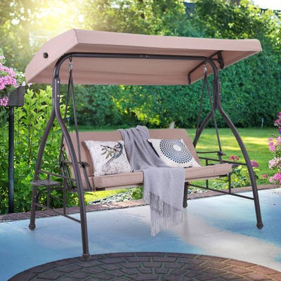 PHI VILLA 3 Person 750lbs Soft Cushioned Porch Swing Chair Glider Bench with Small Side Table and Top Canopy