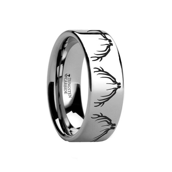 THORSTEN - Deer Elk Antler Engraved Ring Flat Tungsten Ring Polished- 12mm