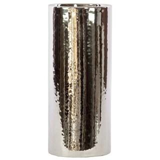 Urban Trends Ceramic Cylindrical Vase Large Polished Chrome Finish Silver