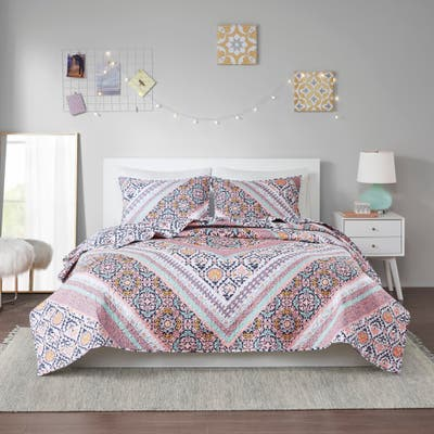 Eliana Pink Printed Reversible Cotton Coverlet Set by Intelligent Design