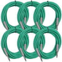 "SEISMIC AUDIO  6 PACK Green 1/4"" TS 25' Patch Cables - Guitar - Instrument"
