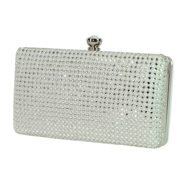 78a0fd44b390 Shop De Blossom Womens White Stud Encrusted Clasp Closure Rectangular Clutch  Bag - One size - Free Shipping Today - Overstock.com - 18449696