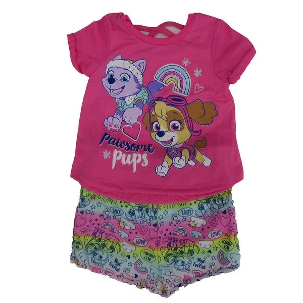 b9d4aabaef92f Shop Nickelodeon Little Girls Pink Paw Patrol Print T-Shirt 2 Pc Shorts  Outfit - Free Shipping On Orders Over $45 - Overstock - 27212090