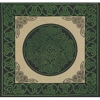 Handmade Cotton Celtic Wheel of Life Cushion Cover Shell Pillow Sham 17x17 Green Tan Blue