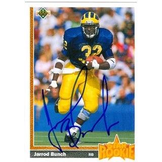 Jarrod Bunch Autographed Football Card New York Giants 1991 Upper