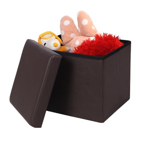 """15""""Practical Leather Ottomans Square Shape Footstool"""