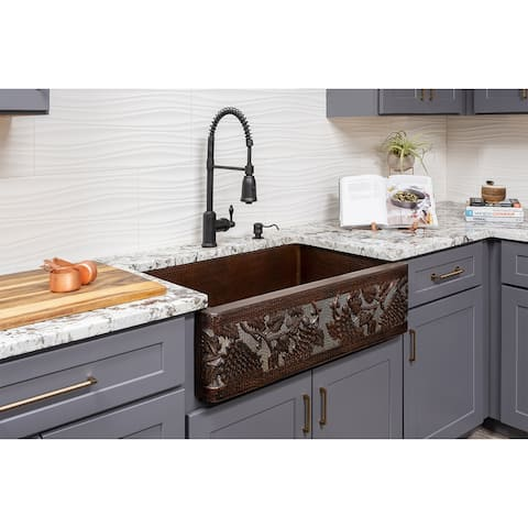 Premier Copper Products KSP4_KASDB33229G-NB Kitchen Sink, Spring Faucet and Accessories Package