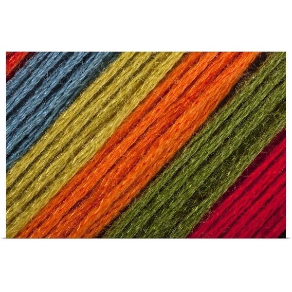 """Close To Blue, Yellow, Orange, Green Threads Diagonal"" Poster Print"