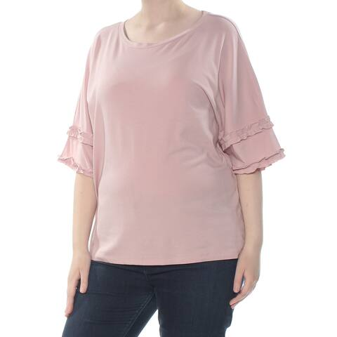 SAY WHAT? Womens Pink Ruffle Trim Short Sleeve Top Plus Size: 2X