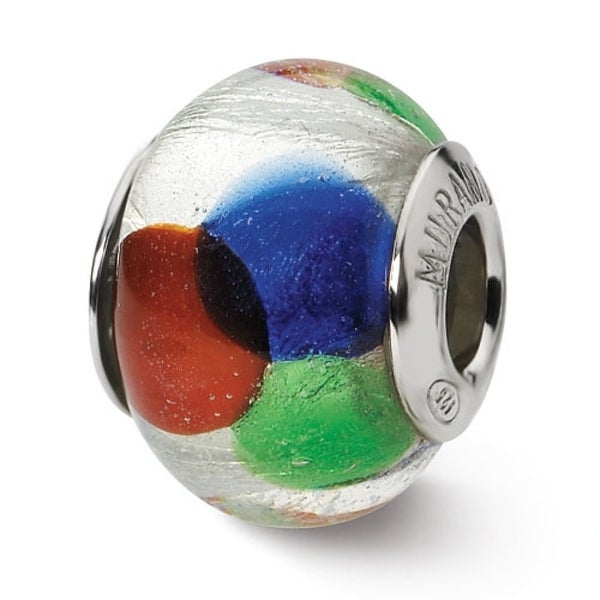Italian Sterling Silver Reflections White/Blue/Green/Red Murano Bead (4mm Diameter Hole)
