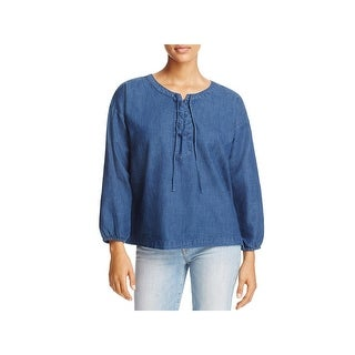 Joie Womens Andiva Pullover Top Chambray 3/4 Sleeves