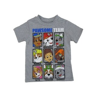 """Nickelodeon Little Boys Gray Paw Patrol """"Pawsome Team"""" Cotton T-Shirt (4 options available)"""