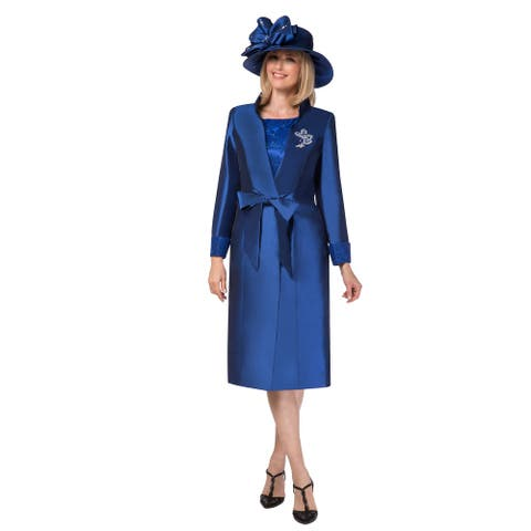 Giovanna Collection Women's 2 pc Long Sleeve Coat & Lace Dress