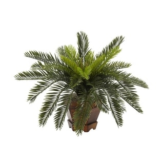 Nearly Natural Cycas with Hexagon Vase Silk Plant Green