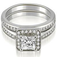1.00 cttw. 14K White Gold Halo Princess and Round Cut Diamond Matching Set
