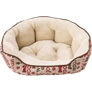 "Sleep Zone 31"" Woof Step-In Scallop Shape Dog Bed-Taupe"