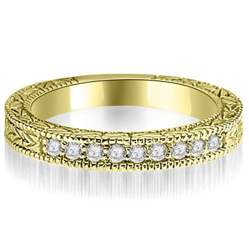 0.20 cttw. 14K Yellow Gold Round Diamond Antique Wedding Band