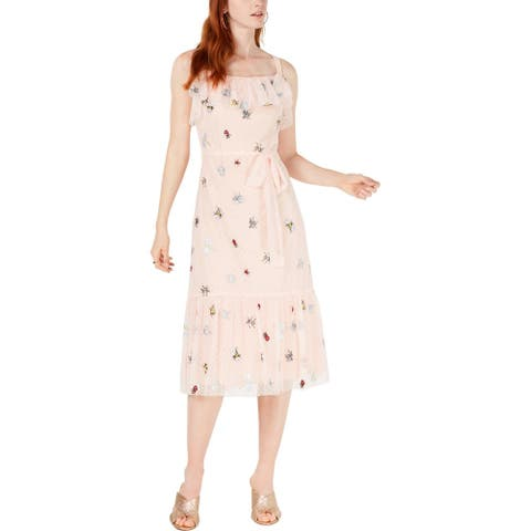 Betsey Johnson Womens Petites Bugs Midi Dress Embroidered Polka Dot - Bare Essential