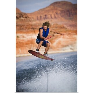 """Man wakeboarding"" Poster Print"