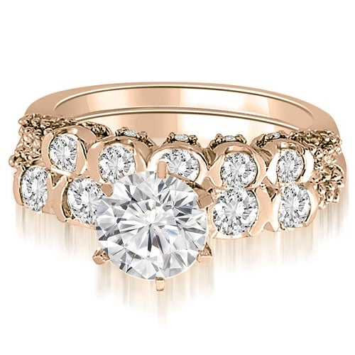 1.98 cttw. 14K Rose Gold Round Cut Diamond Bridal Set