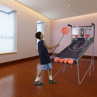 Costway Indoor Basketball Arcade Game Double Electronic Hoops shot 2 Player W/ 4 Balls