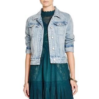 Free People Womens Jean Jacket Denim Long Sleeves