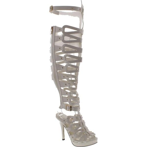 Cape Robin Women's Jessica-Jt-01 Gladiator Pumps Sandals - White