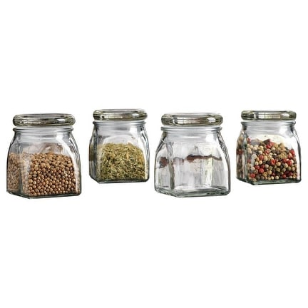 Palais Glassware 3 Ounce Clear Glass Spice Jar with Glass Lid - Contemporary Square Finish (Set of 4)