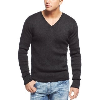 Guess Kevin Double Layer V-Neck Shiny Sweater Jet Black X-Large - XL