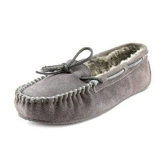 Minnetonka Lily Junior Trapper Women Moc Toe Leather Gray Slipper